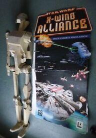 Vintage Star Wars Memorabilia Cardboard Battle Droid & 154cm high Stand up X Wing Alliance Poster