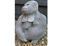 Details about Permanently Coloured LARGE GORILLA SOLID STONE Silverback Garden Patio Statue