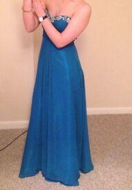 Prom Dress Size 12 by Prom Frocks. Aquamarine with diamanté detail on neckline.