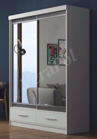 ★★ DELIVER SAME DAY ★★GUARANTEE!*120 CM*WHITE MARGO MIRROR Sliding Door Wardrobe -SAME DAY DELIVERY!