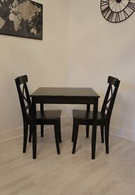 Black IKEA Table and chairs set