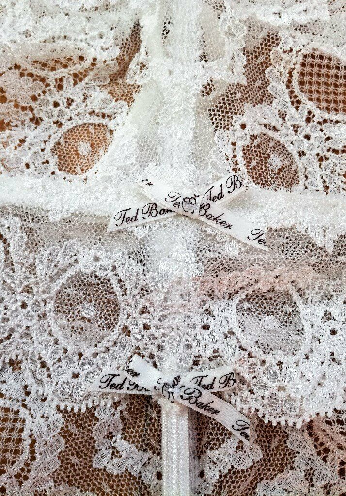 4b9d10b6abbc NEW TED BAKER Underwear Set 2 Cream Briefs Thong Lace Embellished Diamante  Ribbon Cameo Motif Cotton