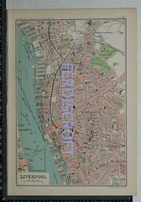 1904 Vintage Bartholomew Map Plan of Liverpool