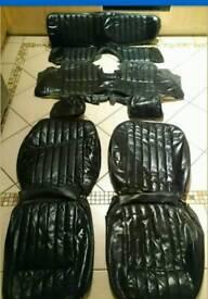 Jaguar e-type 2+2 black leather full complete seat cover set