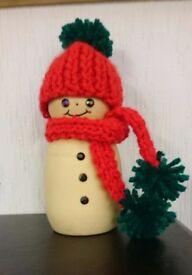 Woodturned snowman