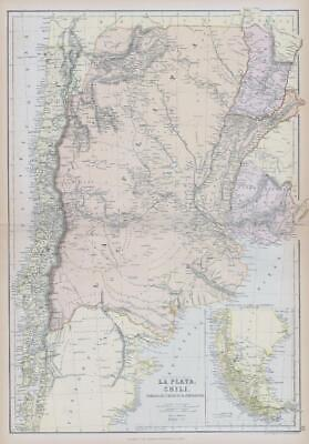 1882 LARGE Antique Colour Map of LA PLATA CHILI PARAGUAY URAGUAY BLACKIE (BA5)