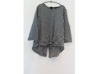 Zara gingham tie front blouse