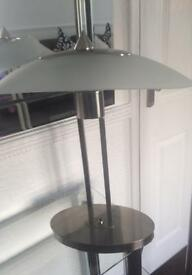 Stunning brushed steel twin fitment table lamp