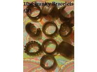 JOB LOT OF 10 HANDCARVED FAIR TRADE CHUNKY WOODEN BANGLES – NEW