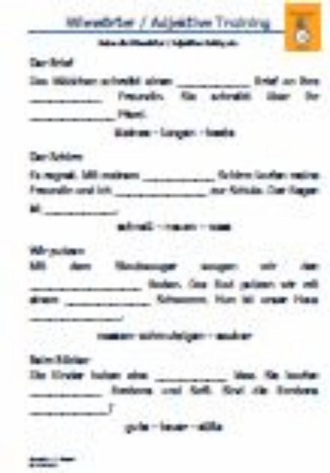 Wieworter Adjektive 1 Klasse Arbeitsblatt Grundschule Pdf