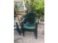 Parasol,cast iron stand and 4 chairs all green good condition £75 for all
