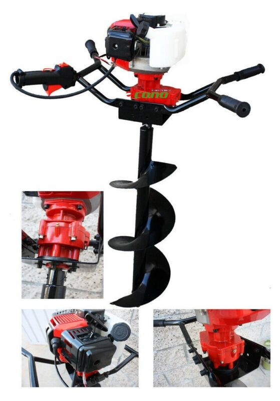 "2HP Two Man Post Earth Planting 52cc Gas Hole Digger w/ 6"" and 12"" Auger Bits"