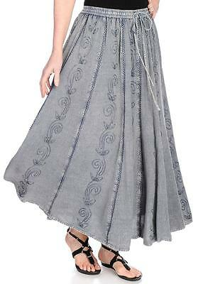 (NEW - OSO Casuals® Woven Embroidered Elastic Drawstring Waist Maxi Skirt)
