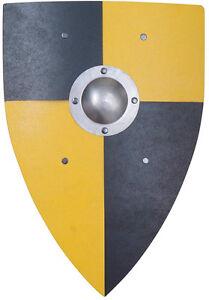 Ritterschild Normannenschild Wappenschild gelb/schwarz Metall-Buckel 153068