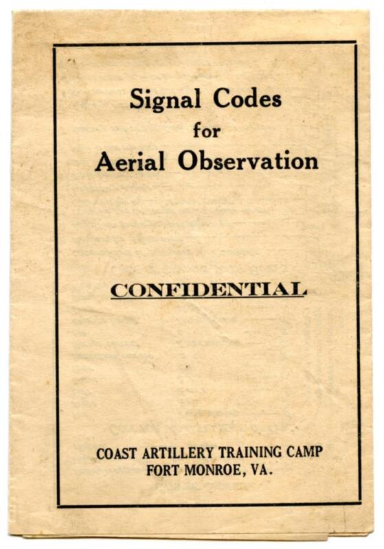 WWI Fold Out Booklet Signal Codes for Aerial Observation Fort Monroe Virginia