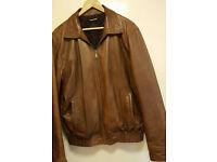 Vintage Offset Mens Leather Jacket (Brown/Tan)