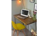 Rustic Handmade Industrial Desk hairpin leg table 90cm x 52cm