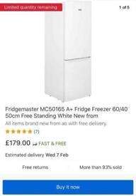 New condition Only 30 days used Brand Fridgemaster fridge freezes only £90