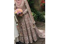 DUSKY PINK ASIAN INDIAN BRIDAL GOWN WEDDING DRESS