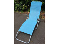 Pair of Blue Folding Sun Loungers (one shown)