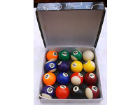 Complete Boxed Set of Powerglide Pool Table Balls 1¾ inch Diameter – Good Condition