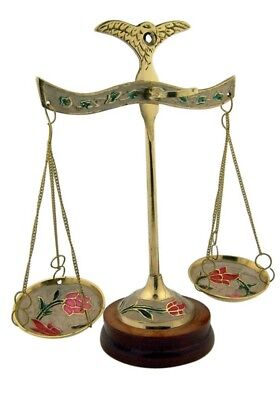 Lawyer Gift Polished Brass Scale with Painted Enamel Floral Design and Wood Base - Paint Polished Brass