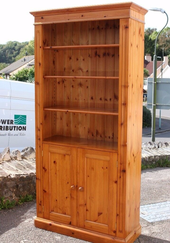 Large Solid Pine Bookcase Display Cabinet