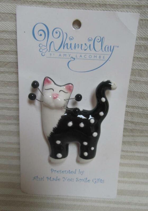 Amy Lacombe Whimsiclay Cat Pin Black White Polka Dot