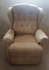 2 fawn cloth covered manual recliners