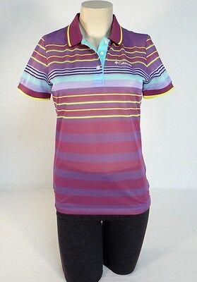 Multi-stripe Mesh (Columbia Sportswear Purple Multi Stripe Mesh Short Sleeve Polo Shirt Women NWT)