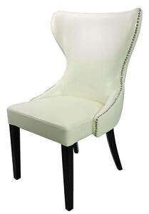 Matching Dining Chair and Counter Stool with Tufted Back in Ivory and Gray w/Silver Nailhead Trim