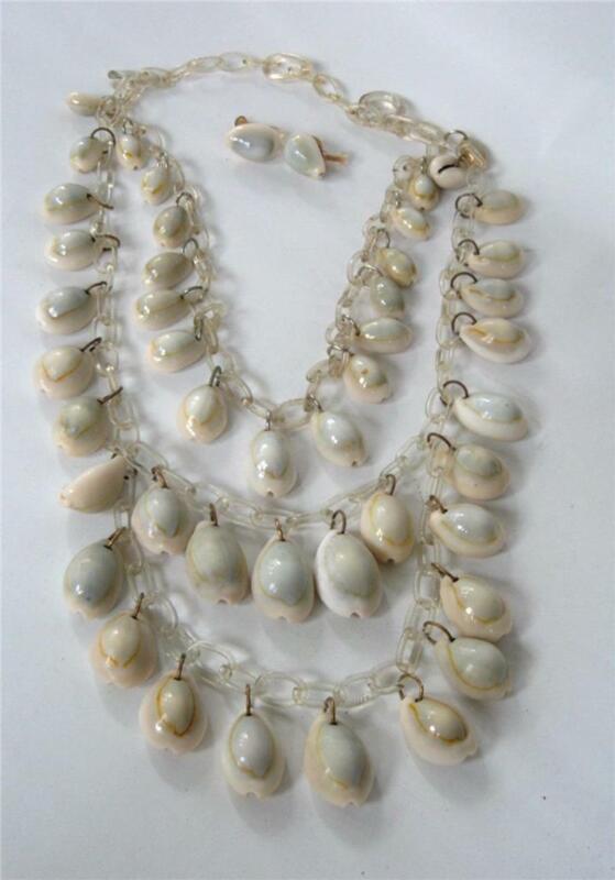 Vintage Art Deco Celluloid Cowrie Shell Bib Layered Festoon Necklace Earrings
