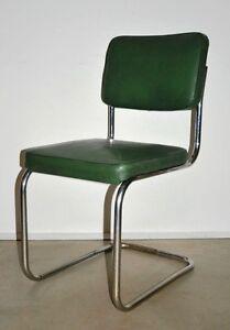 Freischwinger Stuhl, Mauser, Industriemöbel, Stahlrohr,Bauhaus 60er Jahre, grün