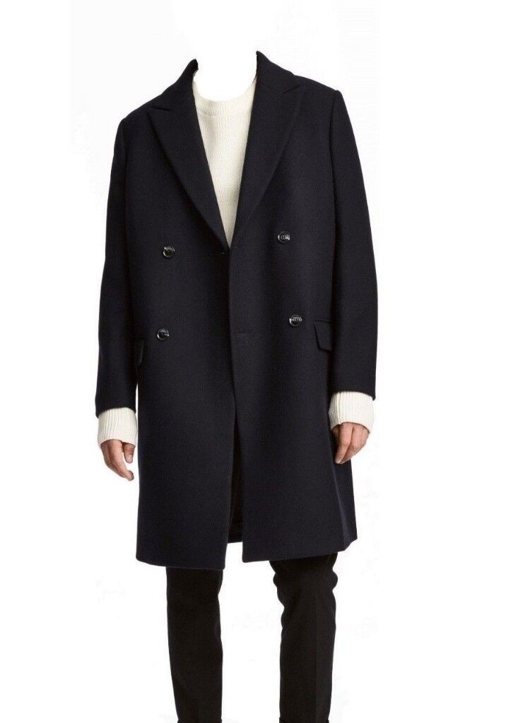 b579ca4085c Mens H&M Wool Mix Coat 36R SMALL Navy Blue double breasted long lapel S M  36 38 burberry long