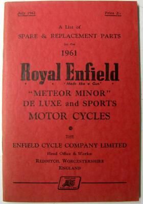 ROYAL ENFIELD Meteor Minor De Luxe and Sports 1961 Motorcycle Owners Parts List