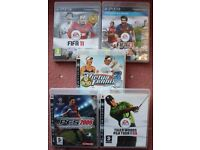 PlayStation 3 games bundle: FIFA 11; FIFA 13; PES 2009; Tiger Woods PGA Tour 09; Virtua Tennis 3