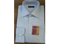 New Men's Italain Long Sleeve Regular Fit Formal Shirt Size 39 40 Blue Boxed