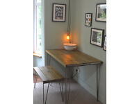 Industrial Kitchen Table and Bench Mid Century Style hairpin - We Can Deliver