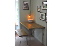 Industrial Kitchen Table and Bench Mid Century Style hairpin UK MAINLAND DELIVER