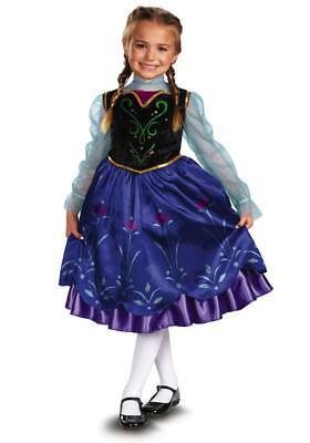 Mädchen Disney Frozen Anna Deluxe Klassisch Kinder Kostüm