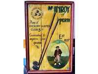 Perfect Golf Gift Rare Vintage Wooden Golf Advertising Board McInroy of Perth