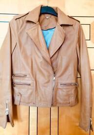 Massimo Dutti Ladies Tan Leather Jacket.