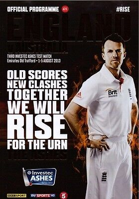 * ENGLAND v AUSTRALIA 3rd ASHES TEST PROGRAMME - AUGUST 2013 - OLD TRAFFORD *