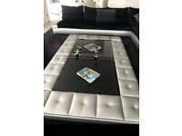 Stunning large coffee table in grey with crocodile skin effect and glass top
