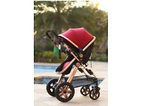 Newborn Child Baby Foldable Travel System Stroller Buggy Pushchair Pram **ROSE GOLD-FREE DELIVERY**