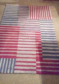 Gooch oriental wool silk rug red grey blue stripes carpet