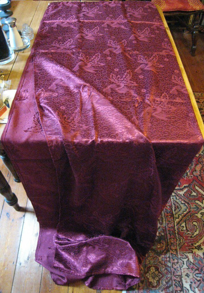 "Vintage Raspberry Wine Dark Rose Pink Burgundy Damask Curtains~46""wide~81""long~Unused~Ready to Hang"