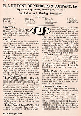 1933 Ad E I Du Pont De Nemours Co Explosives Blasting Powder