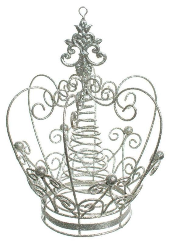 "Silver Glitter Metal Royal Crown 10.5"" Princess Christmas Tree Topper"