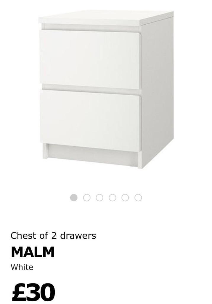 Ikea malm white bedside cabinets